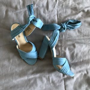 blue heels with ankle wrap